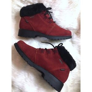 Red Sporto Lace Up Suede Fur Boots